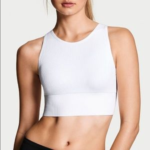 VS Seamless Crop Sports Bra White Medium